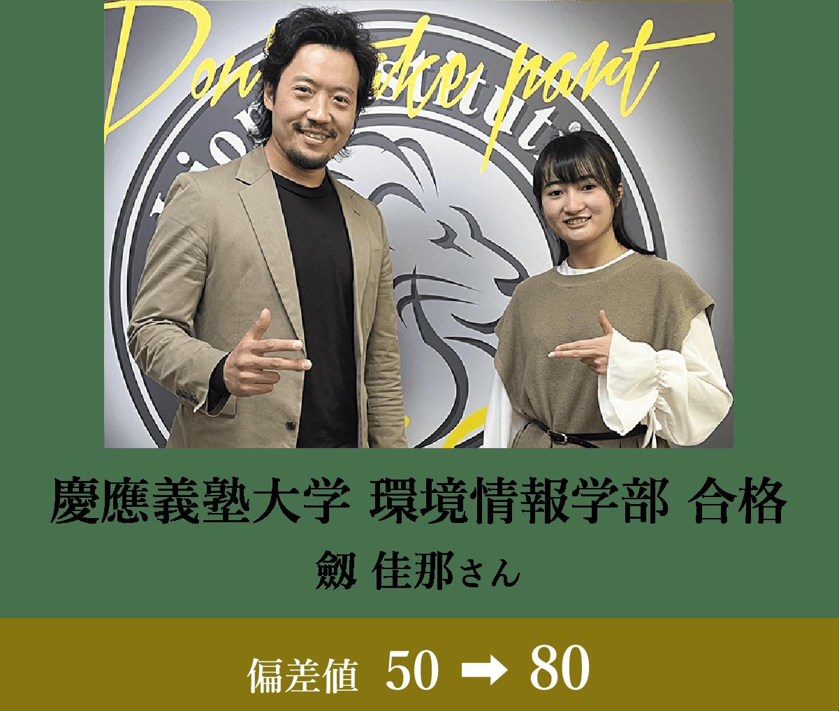 慶應義塾大学 環境情報学部 合格 劔 佳那さん 偏差値39→70